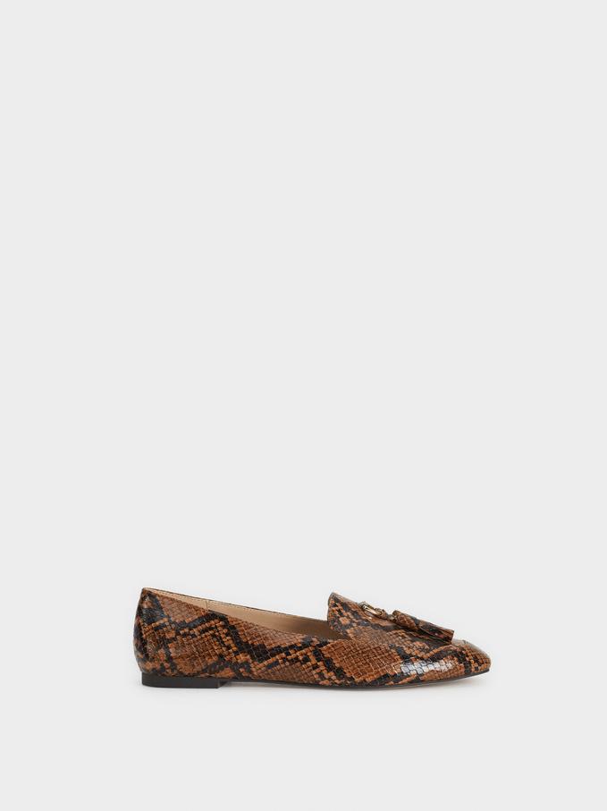 Faux Snakeskin Tassel Loafers, Brown, hi-res