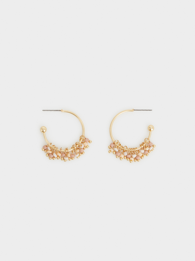 Small Gold Beaded Hoop Earrings, Multicolor, hi-res