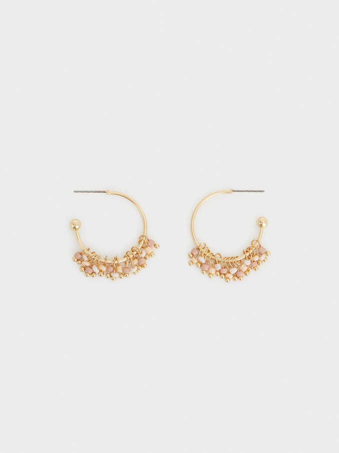 Small Gold Beaded Hoop Earrings, Multicolor, hi-res