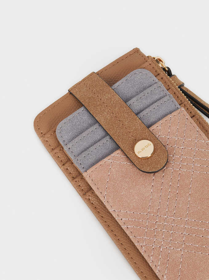 Card Holder With Topstitching, Pink, hi-res
