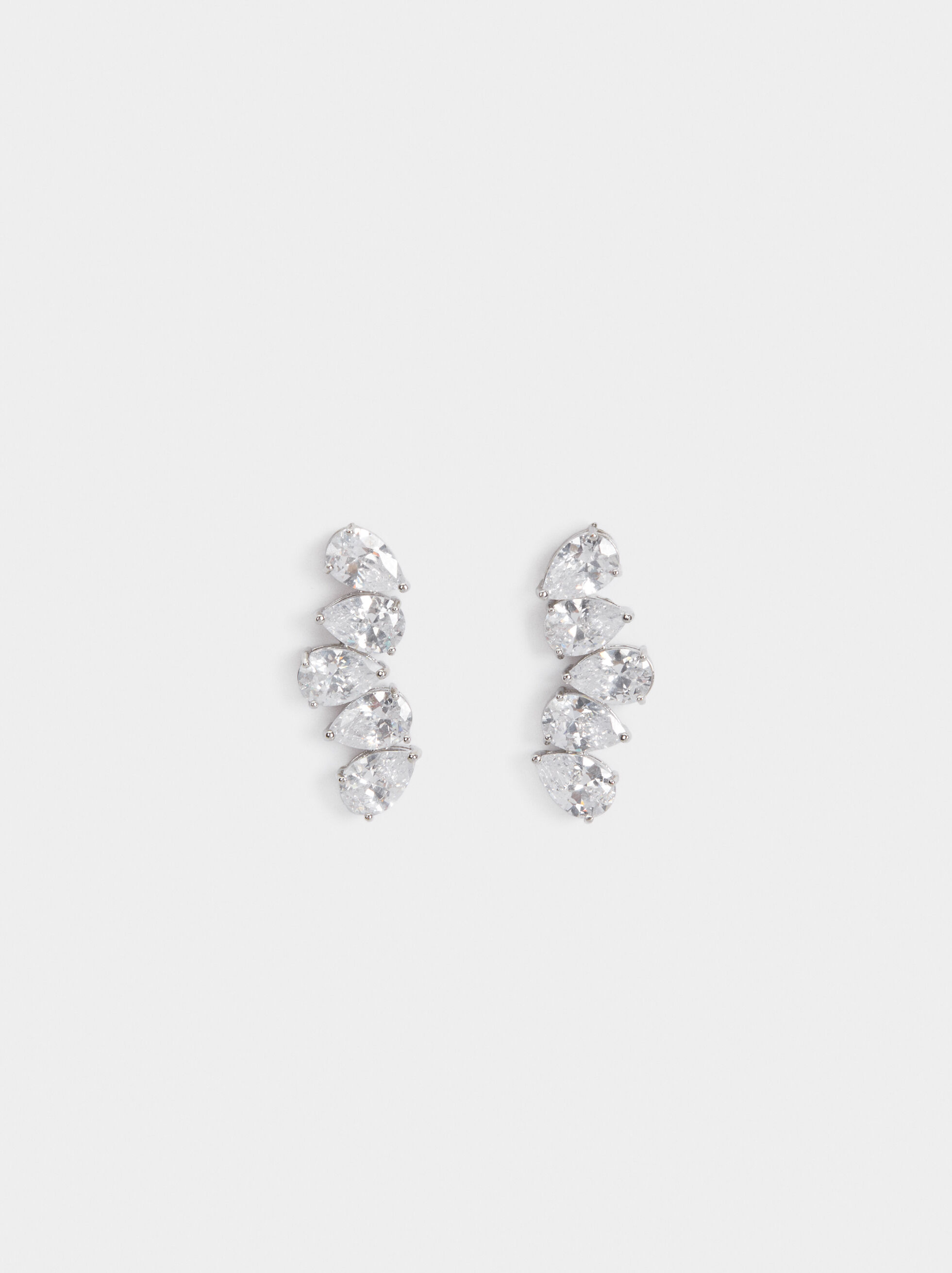 Sparkling Short Earrings, Silver, hi-res