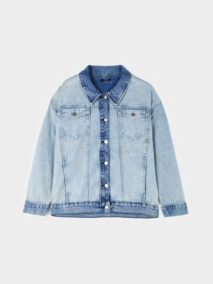 Oversized Denim Jacket, Blue, hi-res