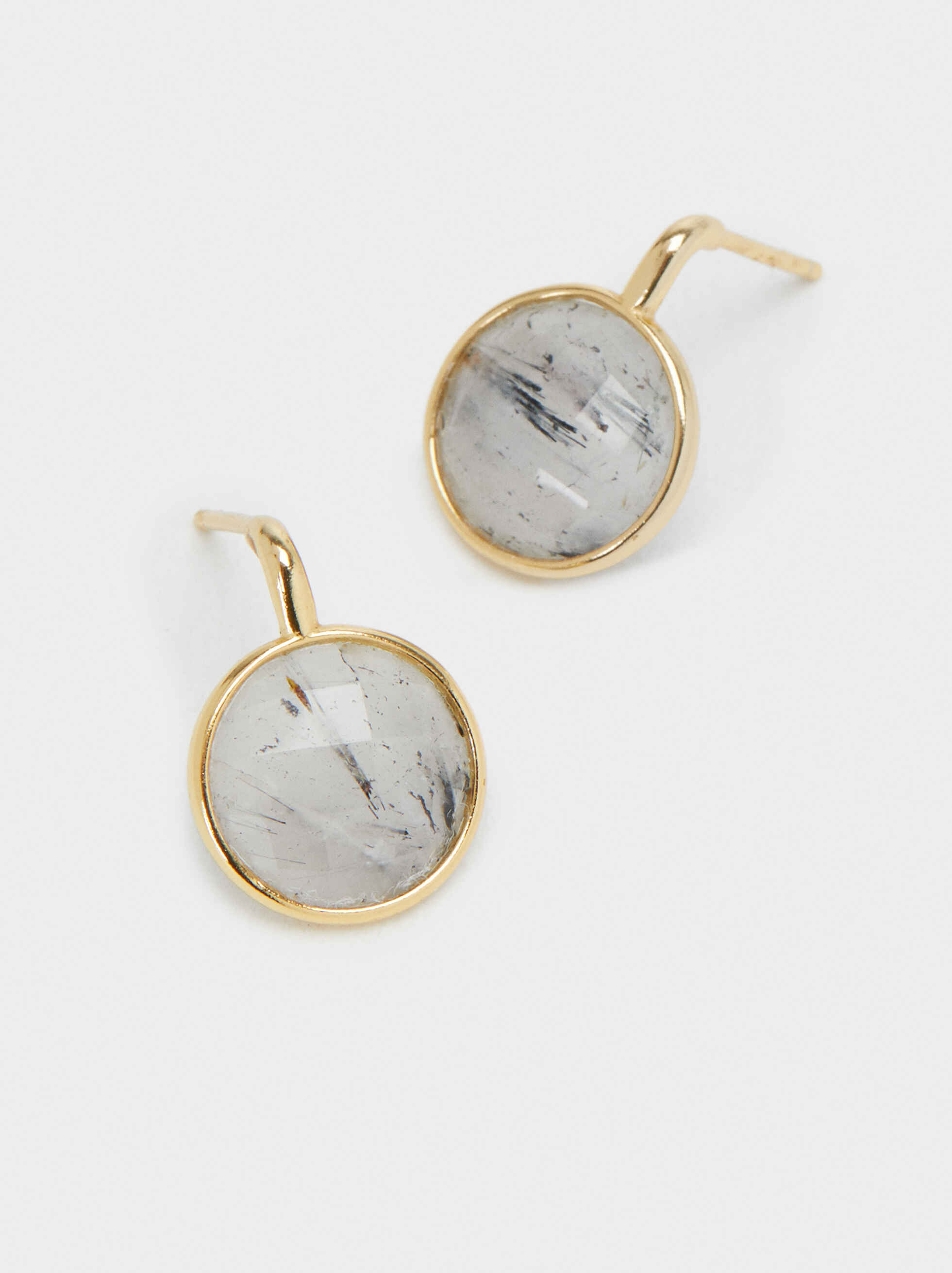 925 Silver Short Earrings, Grey, hi-res
