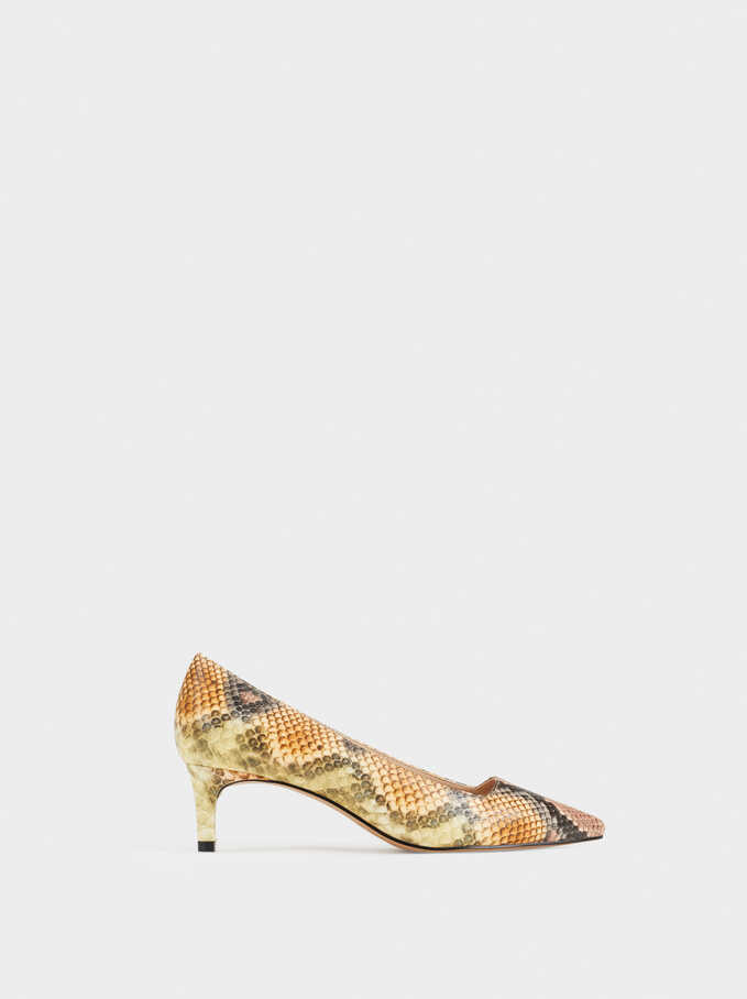 Multicoloured Faux Snakeskin Mid-Heel Court Shoes, Pink, hi-res