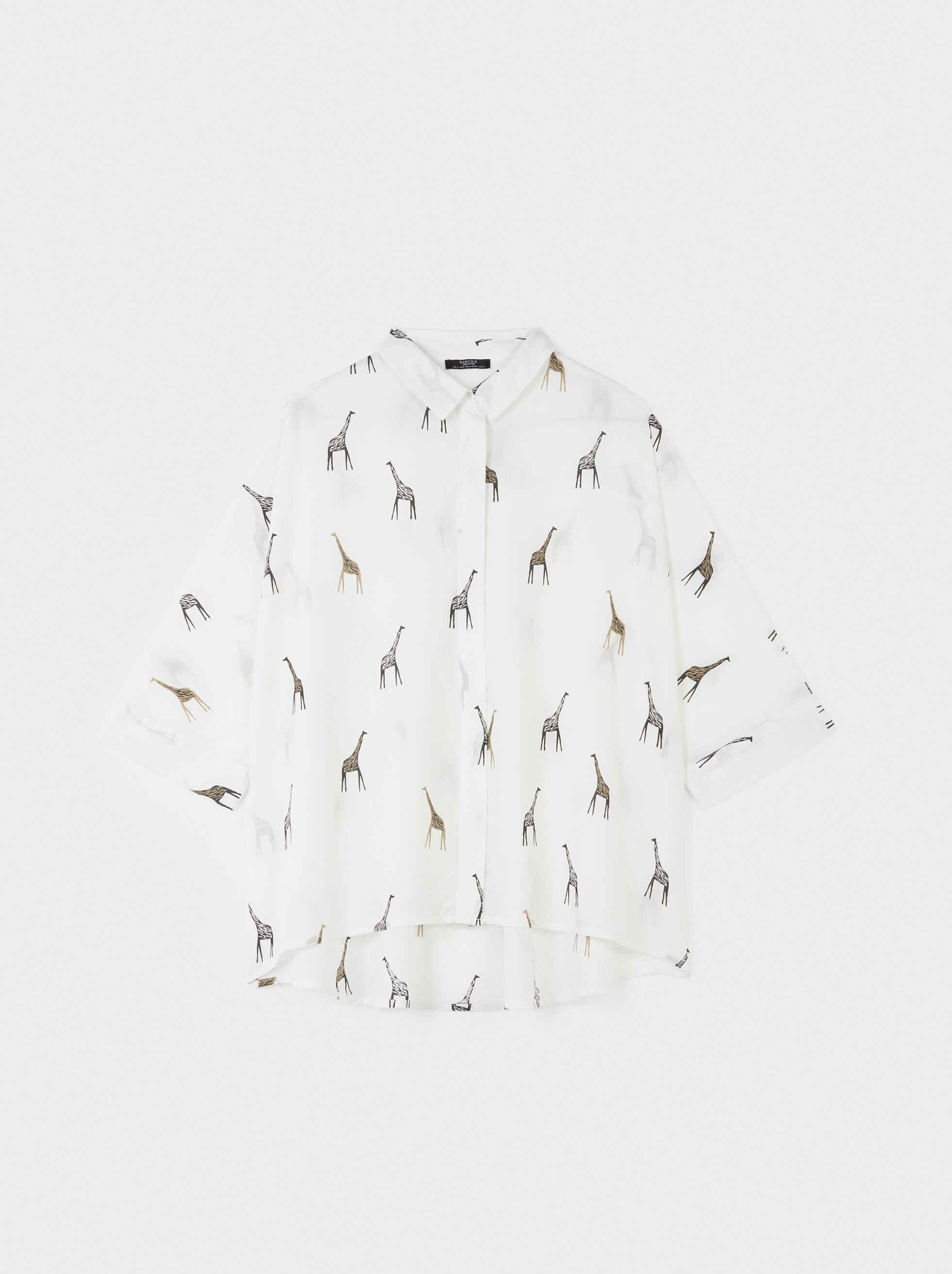 Camisa Oversize Estampado Jirafas, Crudo, hi-res