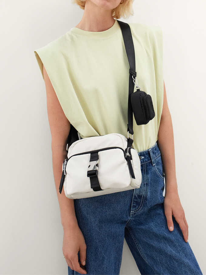 Nylon Crossbody Bag With Outer Pockets, Ecru, hi-res