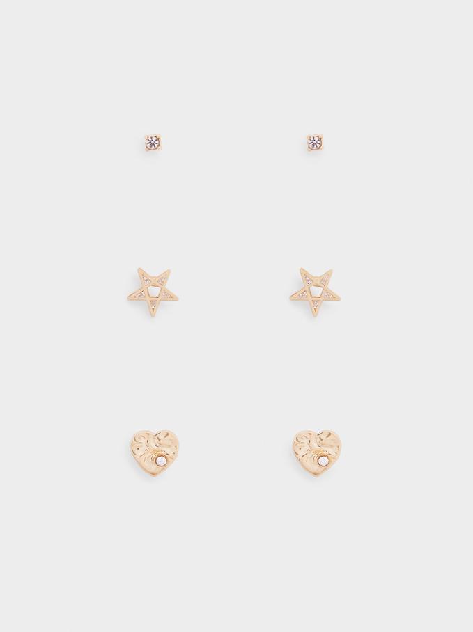 Conjunto De Pendientes Estrella Y Corazón, Dorado, hi-res