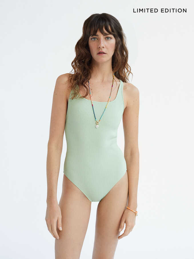 Limited Edition Plain Bathing Suit, Green, hi-res
