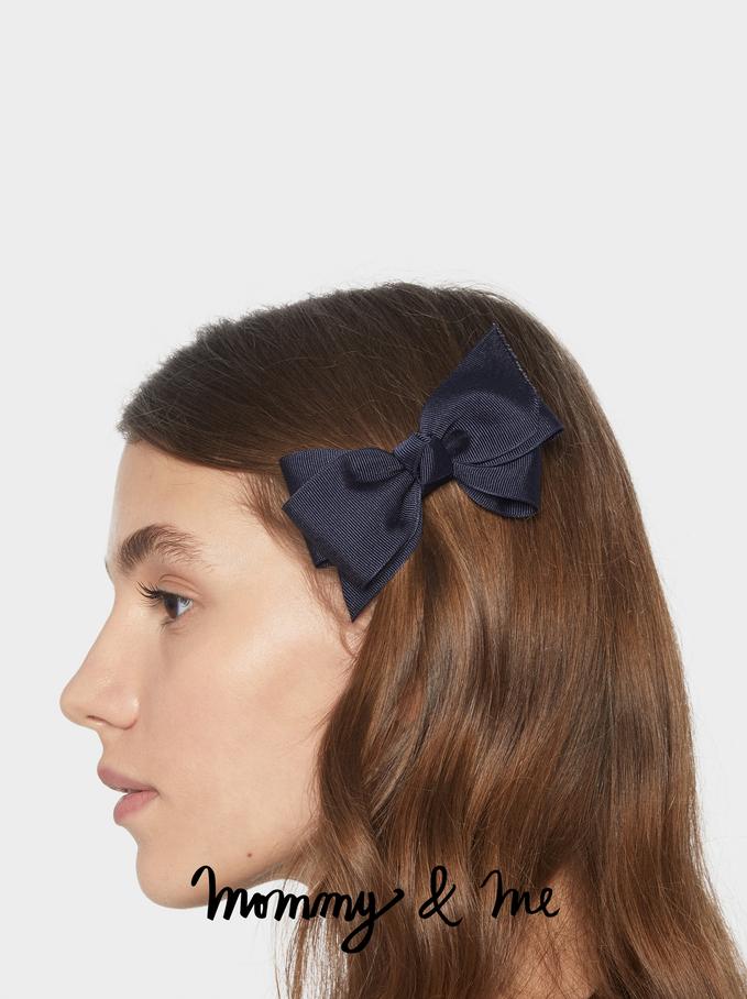 Kid Hairclip With Bow, Navy, hi-res