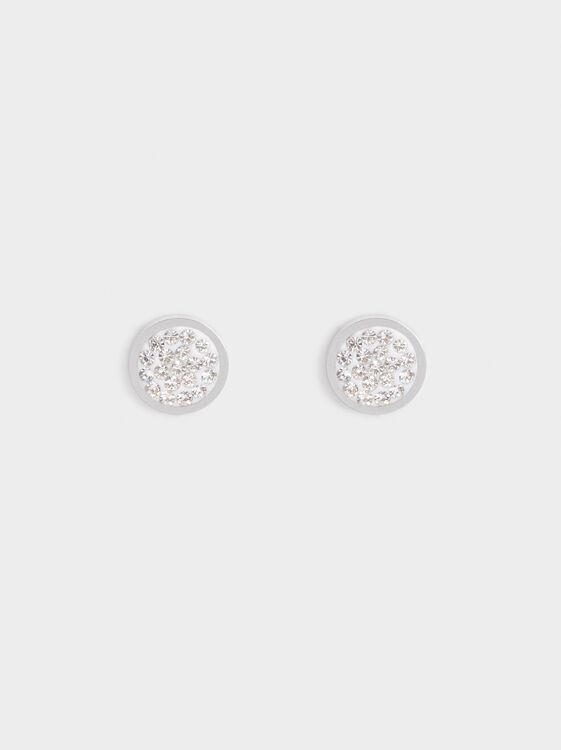 Short Steel Earrings With Rhinestones, Silver, hi-res