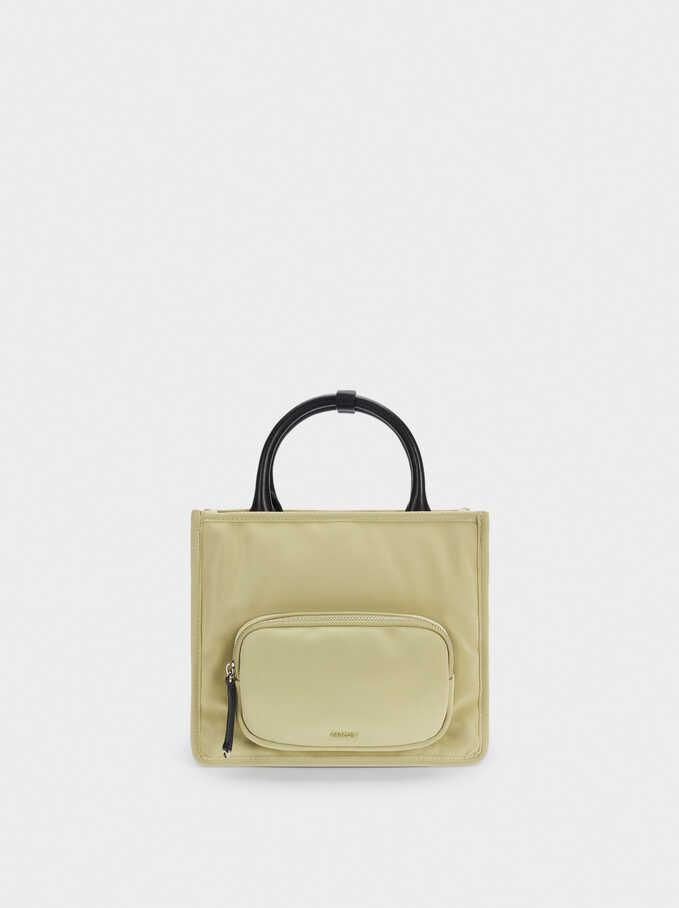 Nylon Tote Bag With Shoulder Strap, Green, hi-res