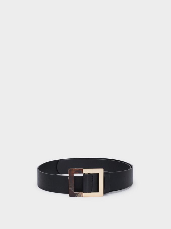 Belt With Contrast Buckle, Black, hi-res