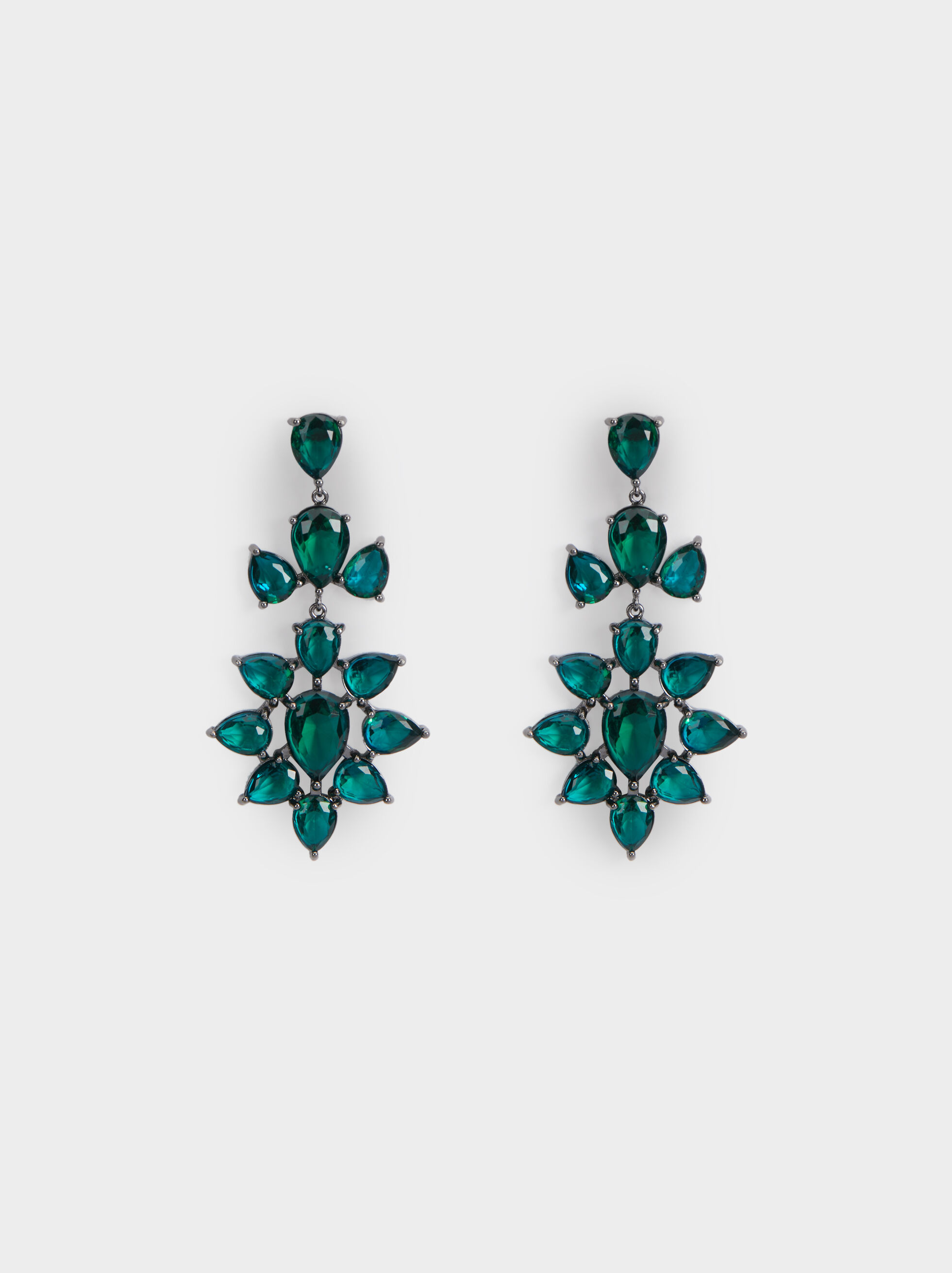 Long Rhinestone Earrings, Green, hi-res