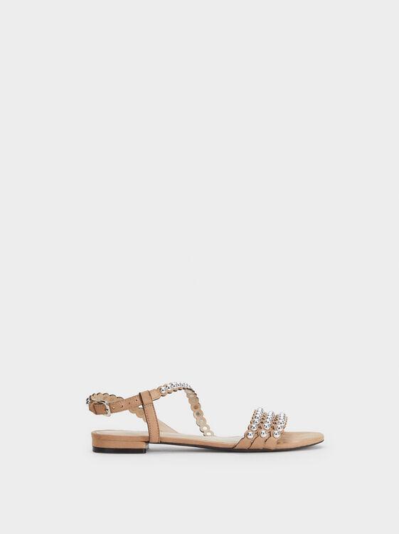 Studded Flat Sandals, , hi-res