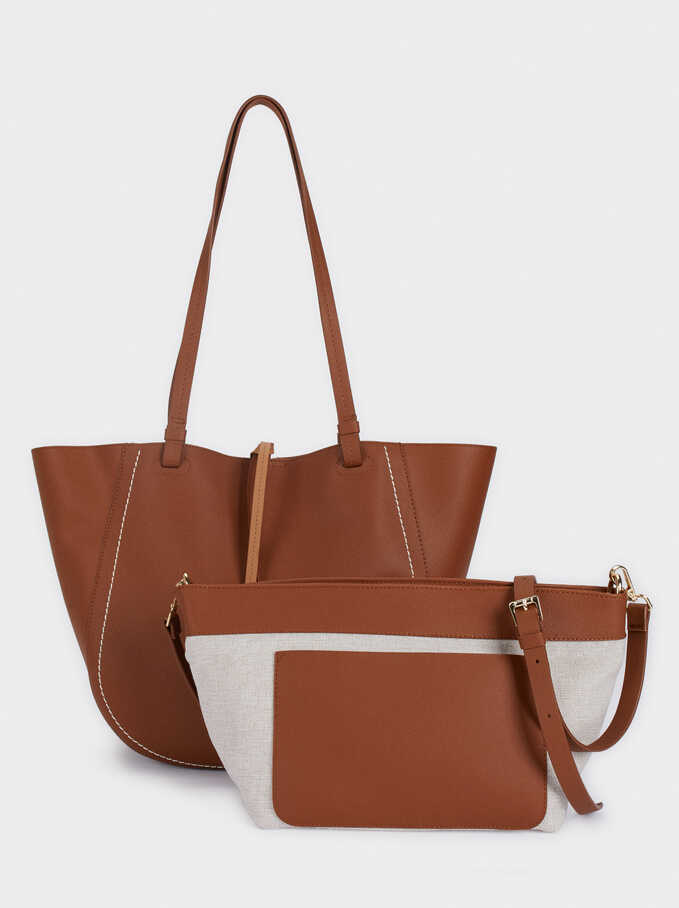 Tote Bag With Removable Inner Section, Camel, hi-res