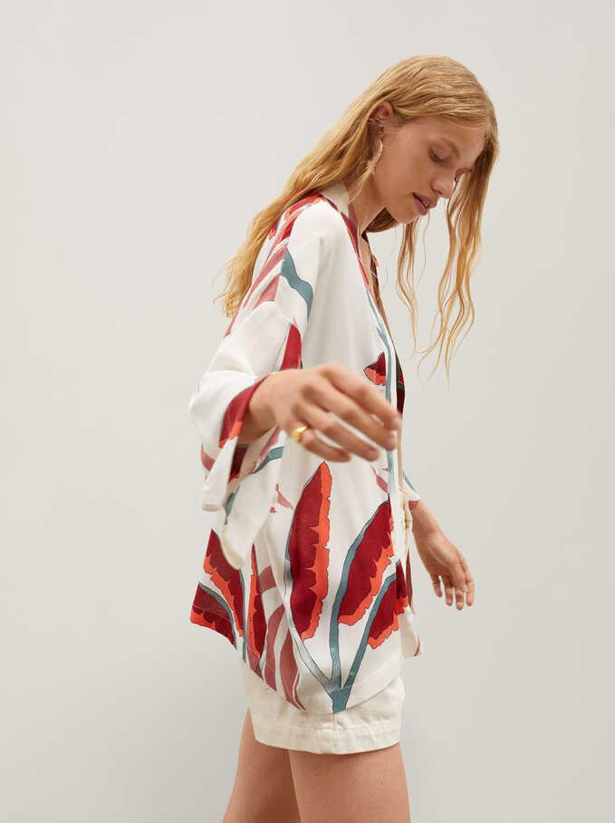 Kimono Imprimé Feuilles, Écru, hi-res