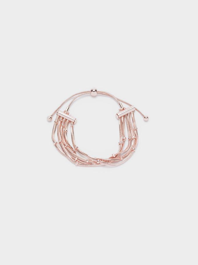 Adjustable Bracelet With Beads, Orange, hi-res