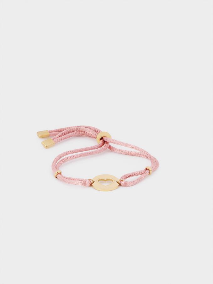 Bracelet Réglable En Acier Cœur, Rose, hi-res