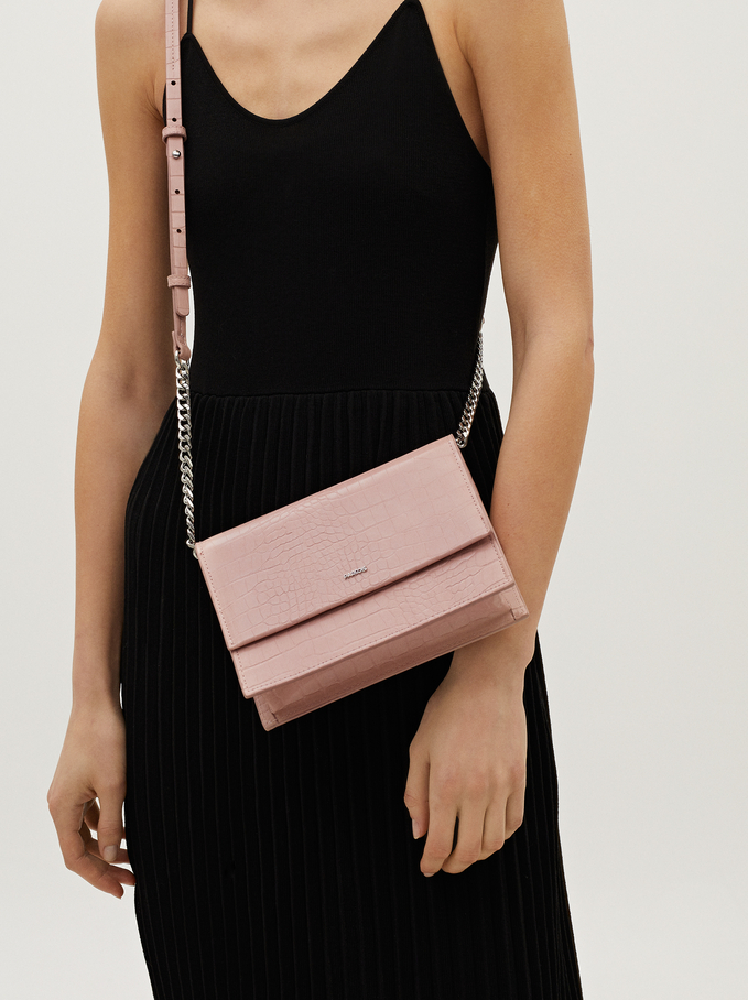 Embossed Print Party Crossbody Bag, Pink, hi-res