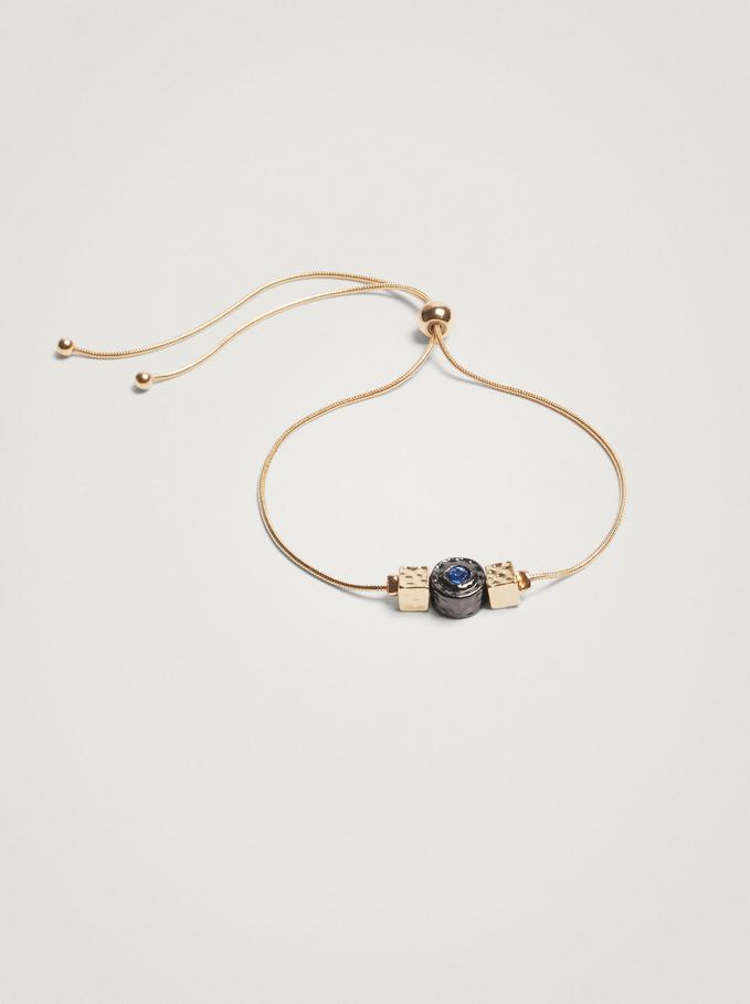 Adjustable Bracelet With Beads, Blue, hi-res
