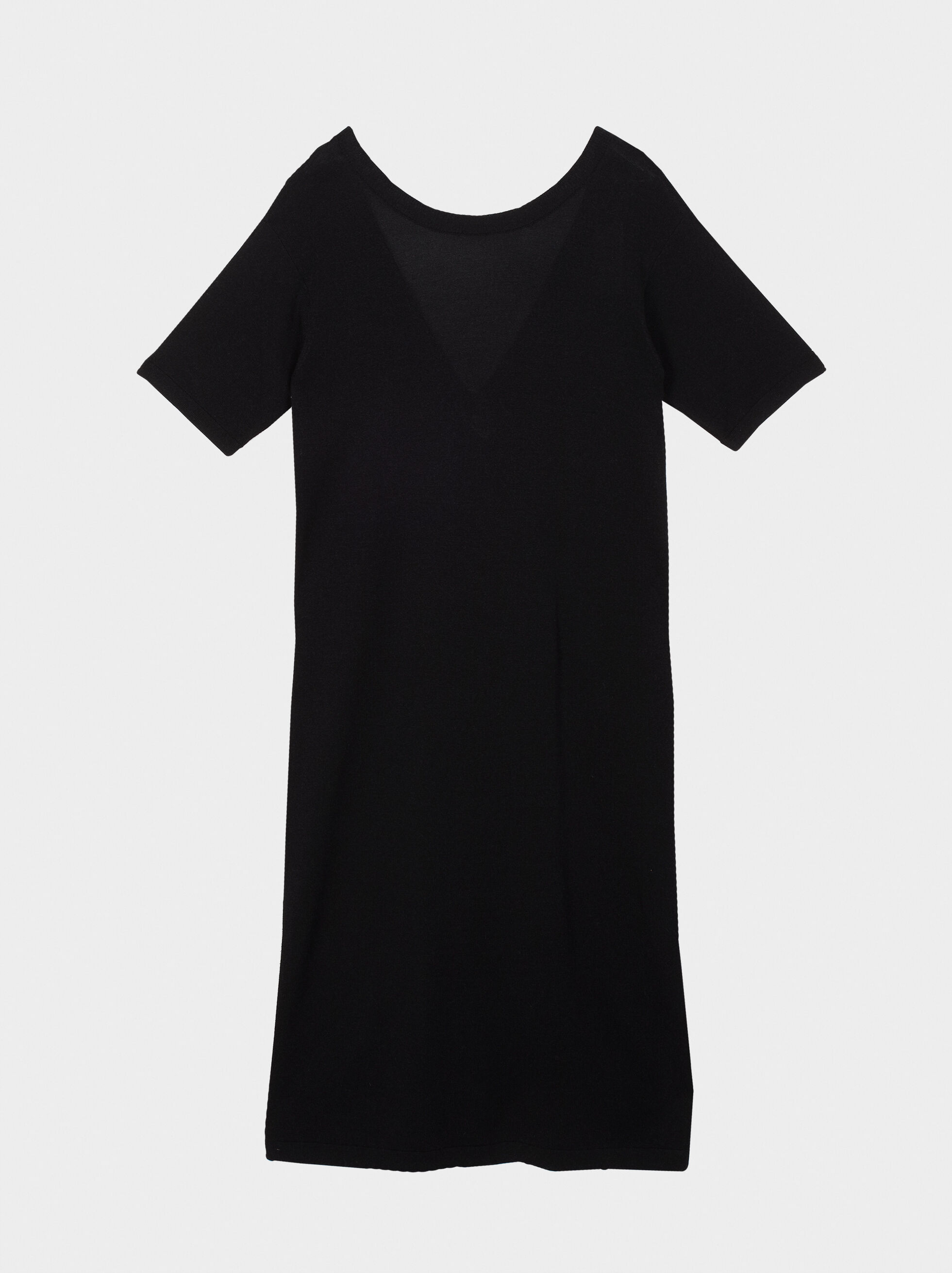 V-Neck Dress, Black, hi-res