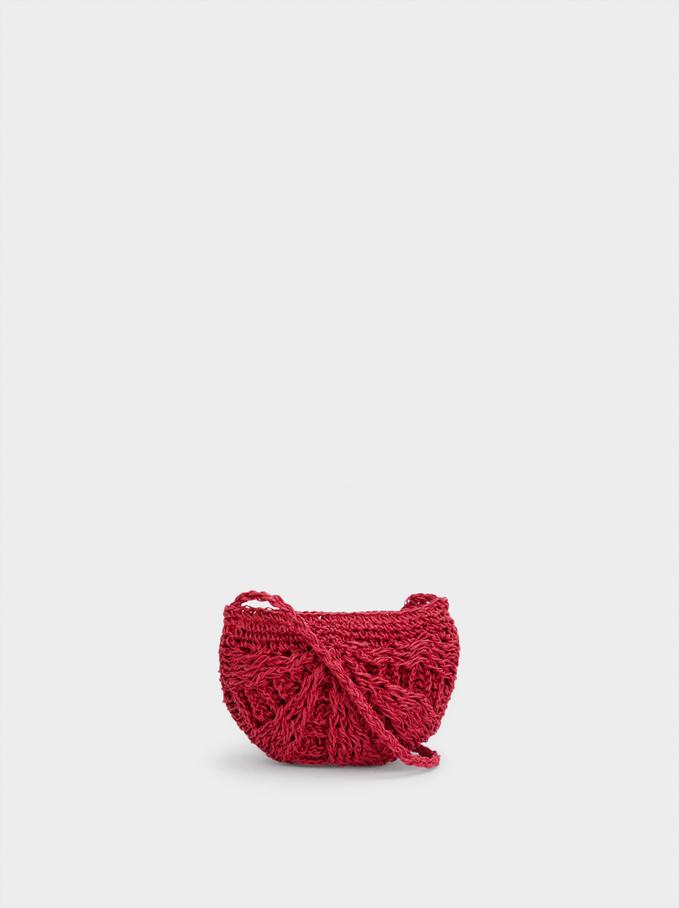 Straw Crossbody Bag With Pendant, Pink, hi-res