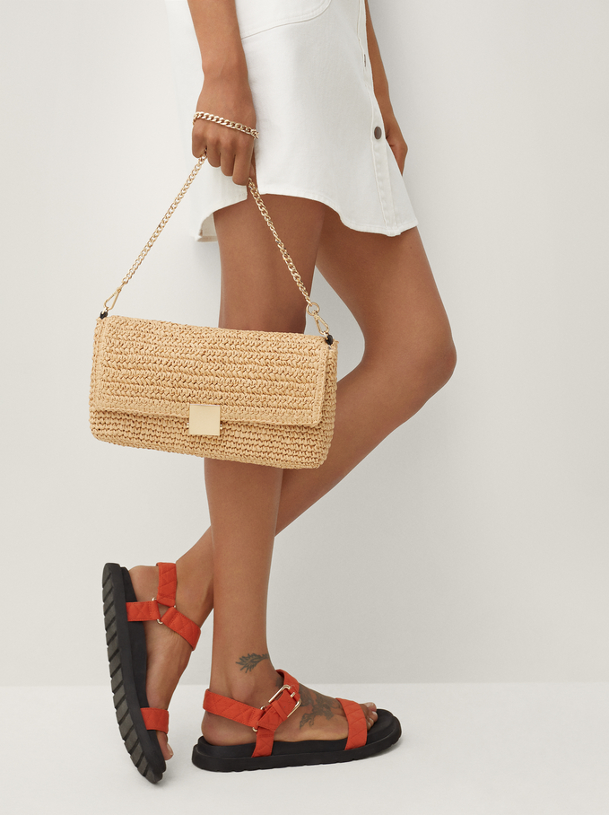 Raffia Textured Shoulder Bag, Ecru, hi-res