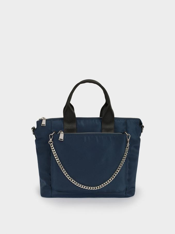 Bolso Shopper De Náilon Detalle Cadena, Azul Marino, hi-res