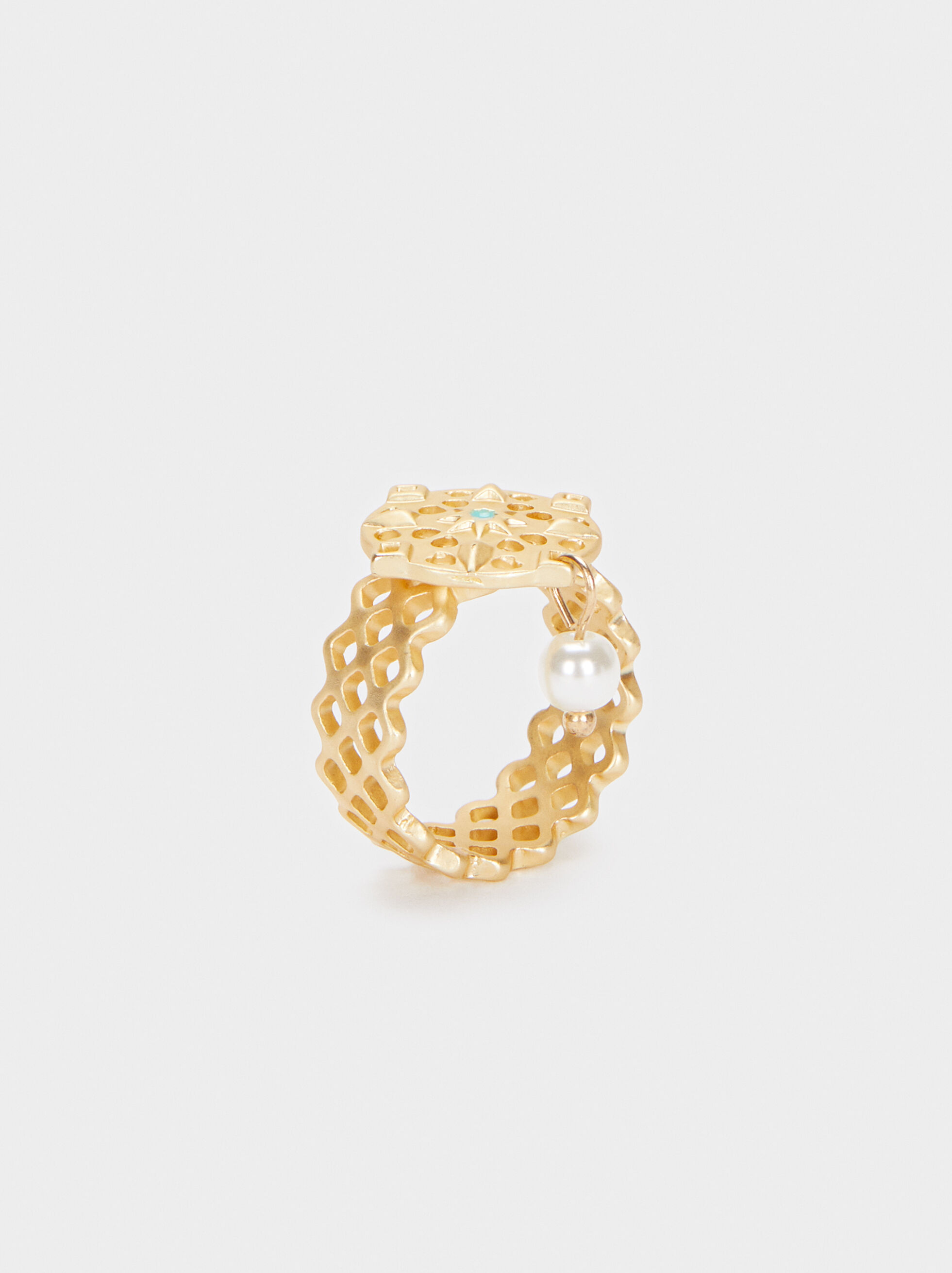 Gold Ring With Faux Pearl, , hi-res