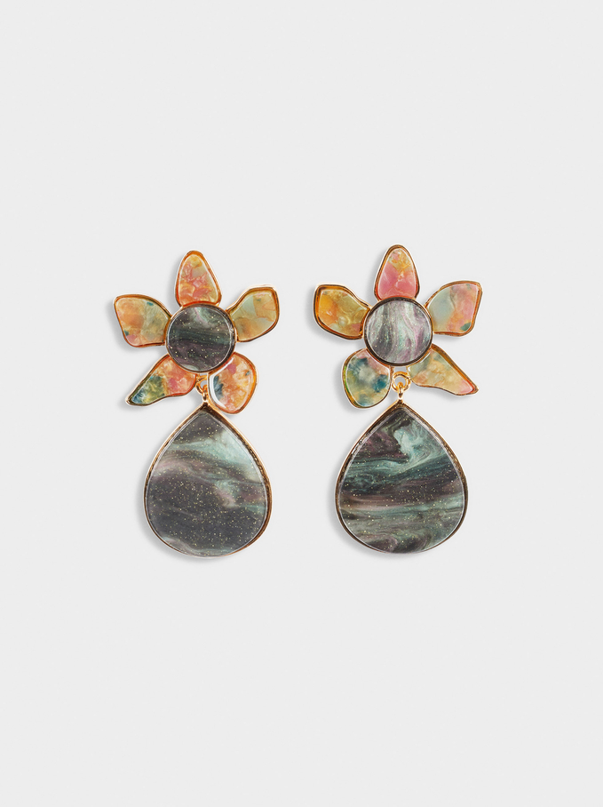 Long Flower Earrings, Green, hi-res