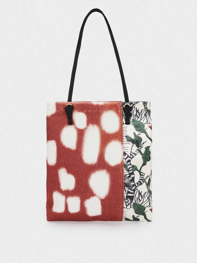 Printed Fabric Bag, Brick Red, hi-res