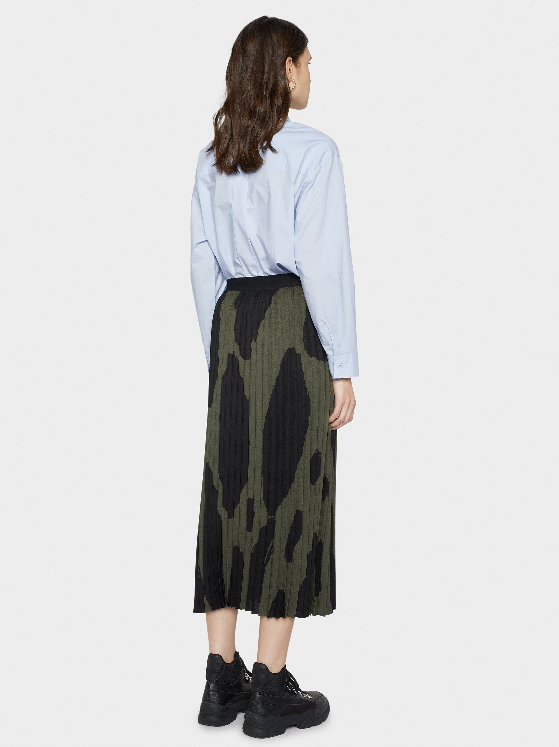 Printed Pleated Skirt, Khaki, hi-res