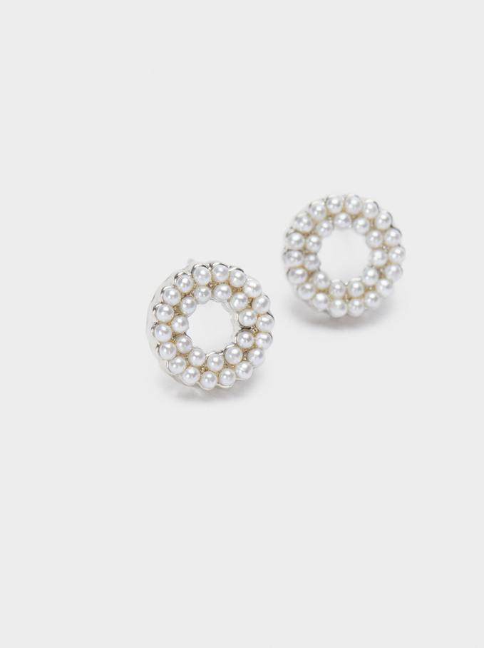 Short Faux Pearl Earrings, Silver, hi-res