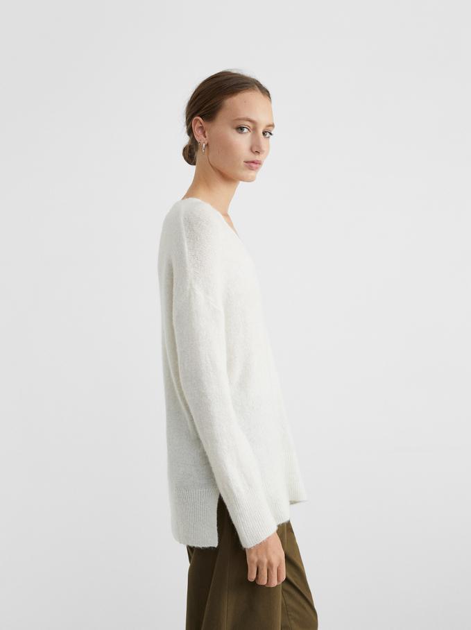 V-Neck Knit Sweater, White, hi-res