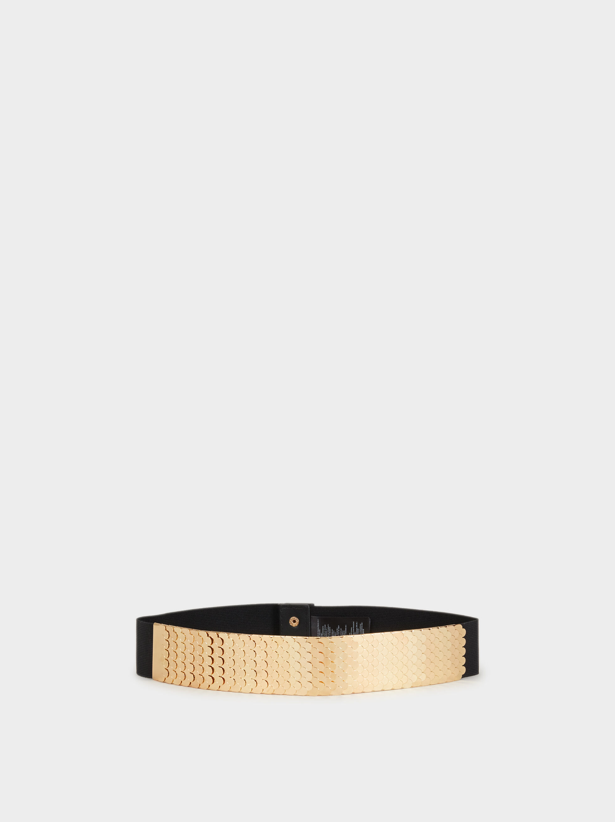 Stretch Belt With Metal Appliqué, Golden, hi-res