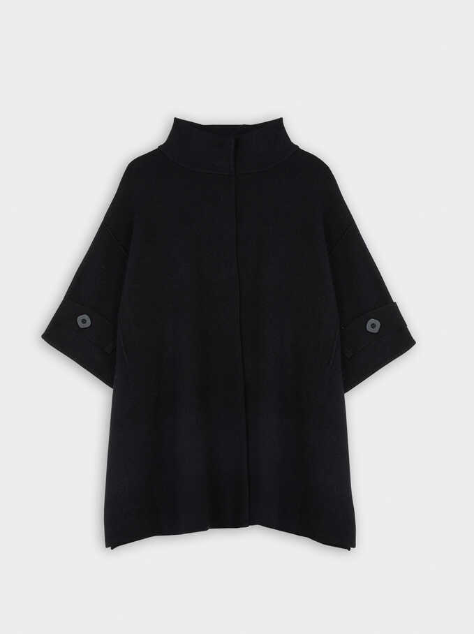 Knit Poncho With Button Detail, Black, hi-res