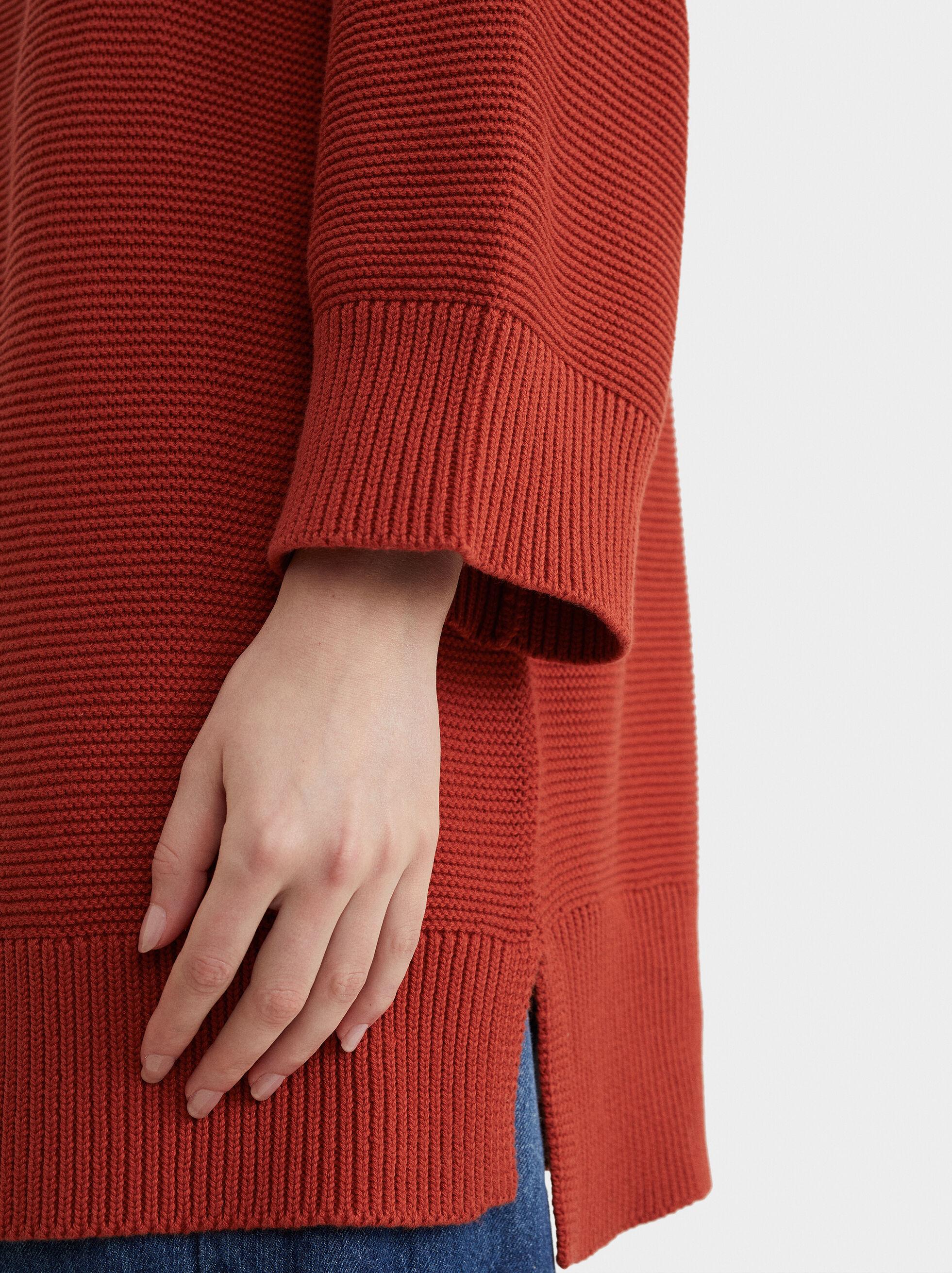 Knit Cardigan, Coral, hi-res