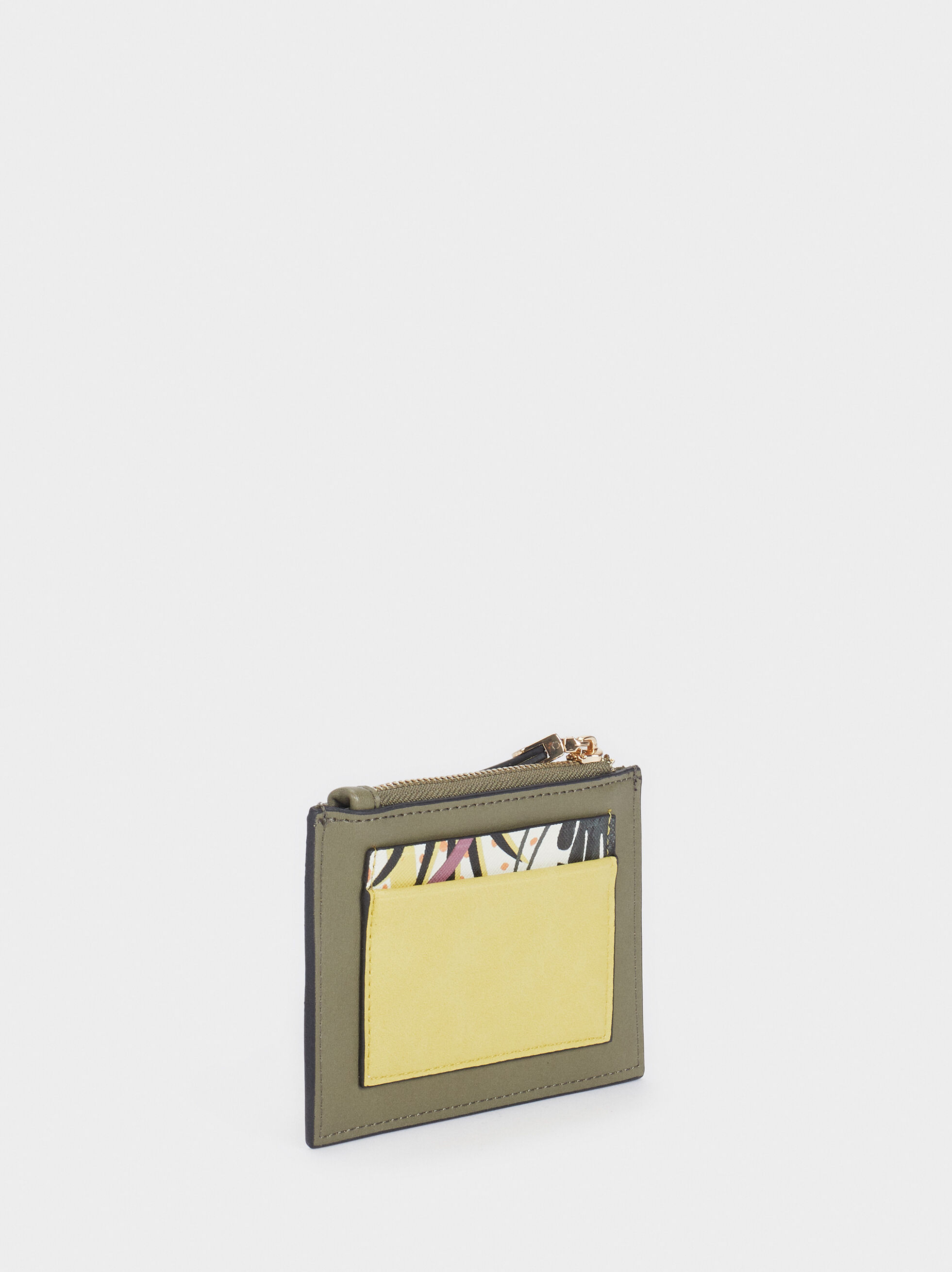 Floral Print Card Holder, Khaki, hi-res