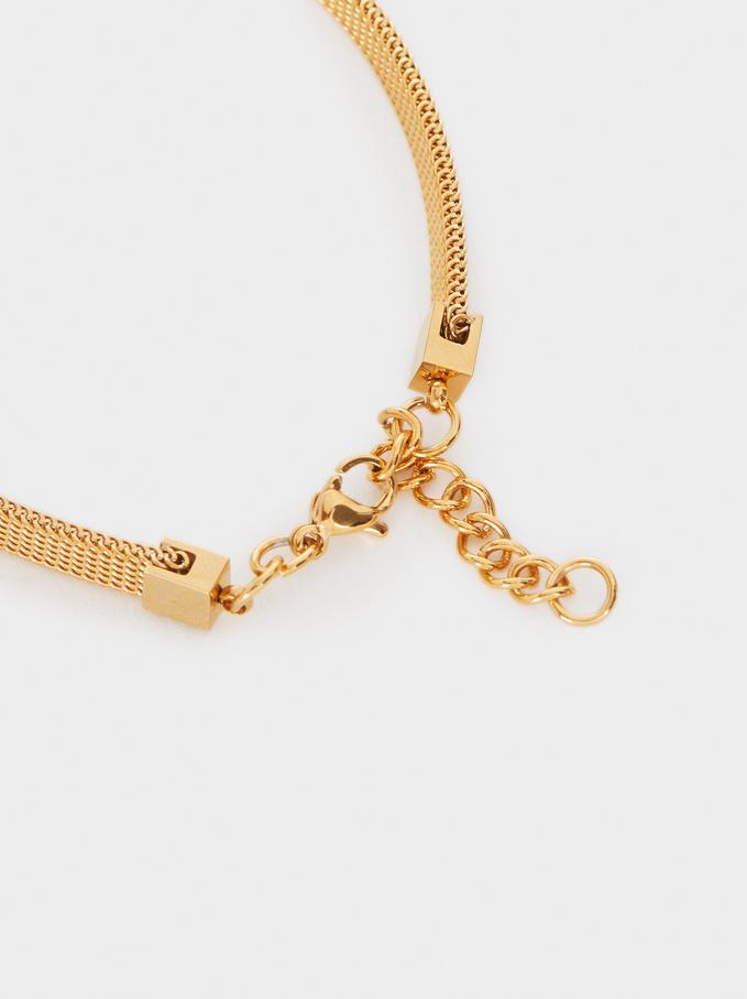 Stainless Steel Bracelet With Golden Clover Leaf, Golden, hi-res