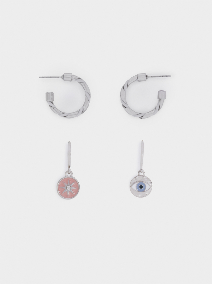 Set Of Hoop Earrings With Charms And Crystals, Multicolor, hi-res