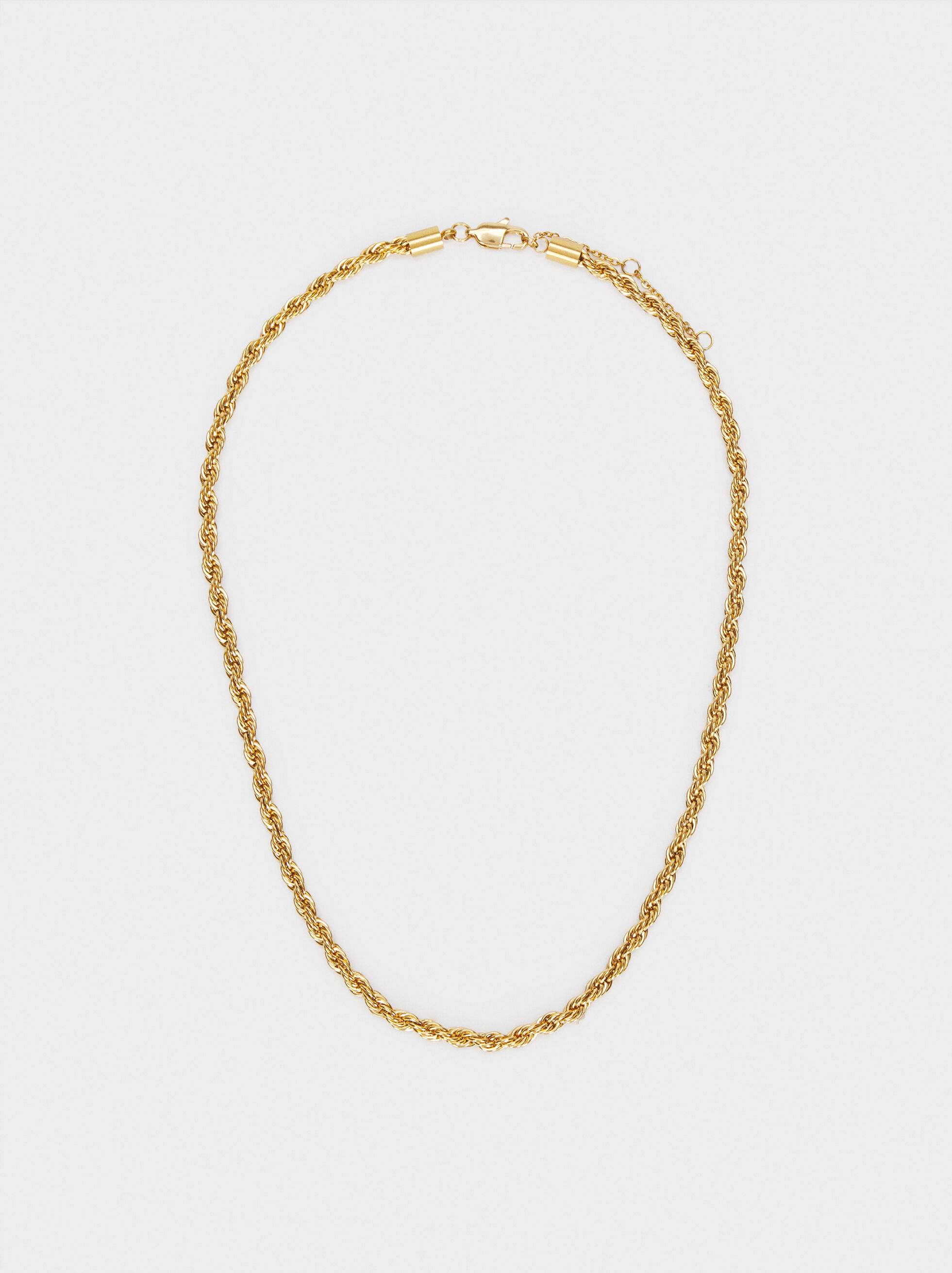 Short Golden Stainless Steel Chain Necklace, Golden, hi-res