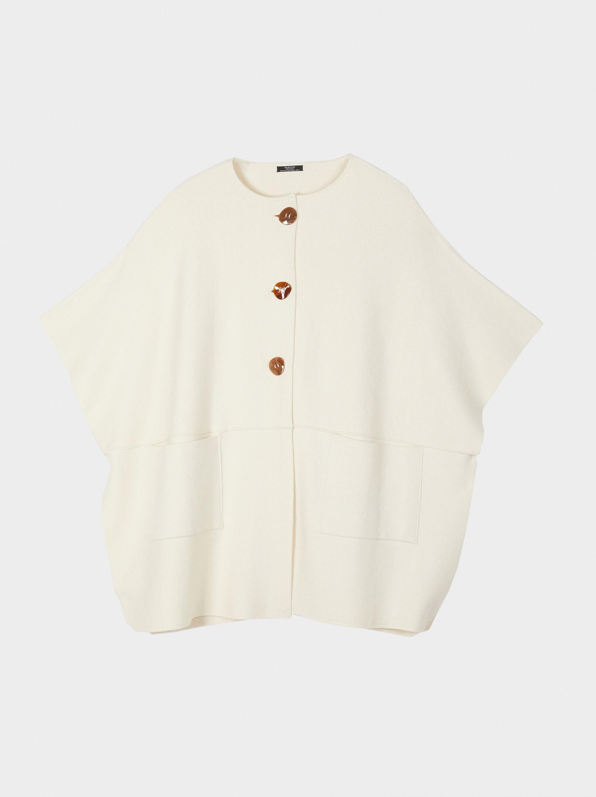 Knit Poncho With Pockets, Ecru, hi-res