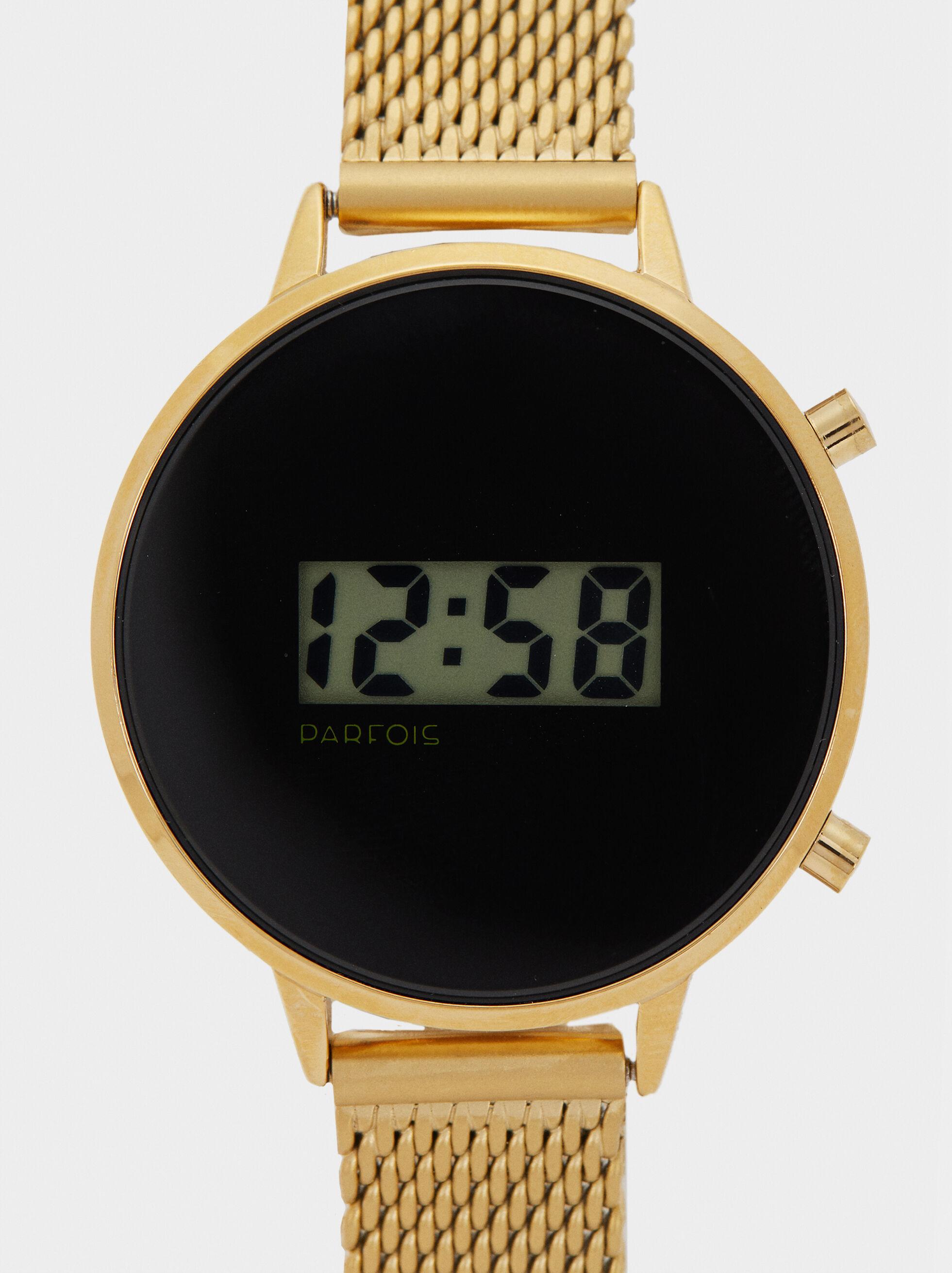 Reloj Digital Correa Malla Metálica, Dorado, hi-res