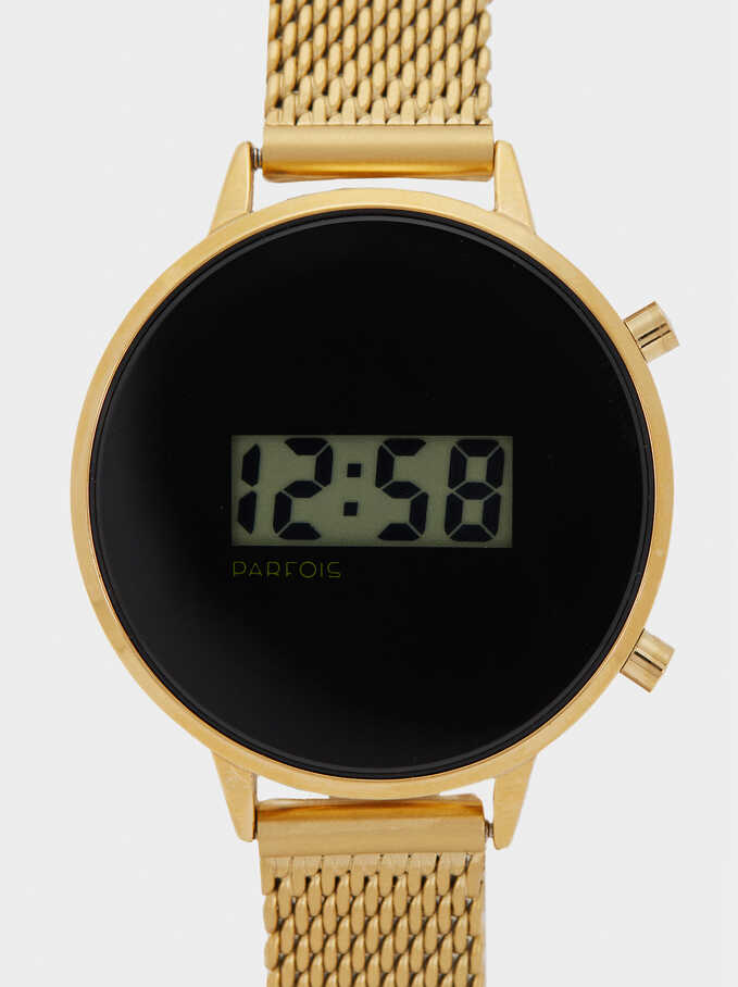 Digital Watch With Metallic Mesh Wristband, Golden, hi-res
