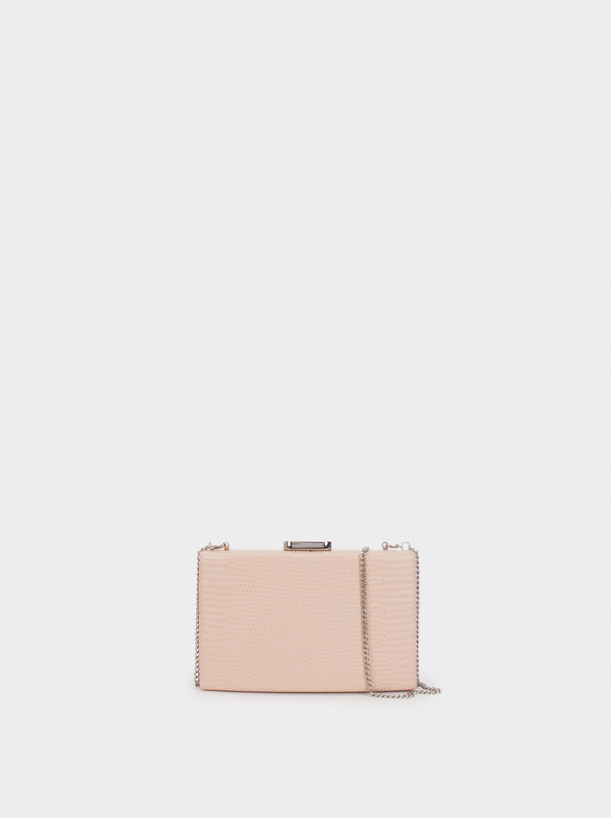 Animal Embossed Clutch, Pink, hi-res