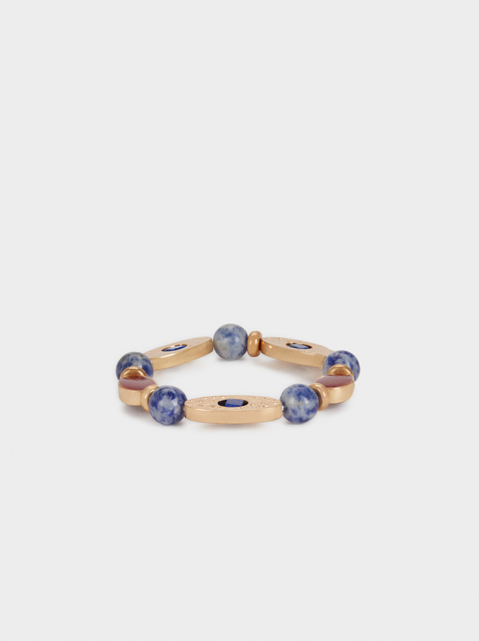 Elasticated Bracelet With Multicoloured Stones, Multicolor, hi-res
