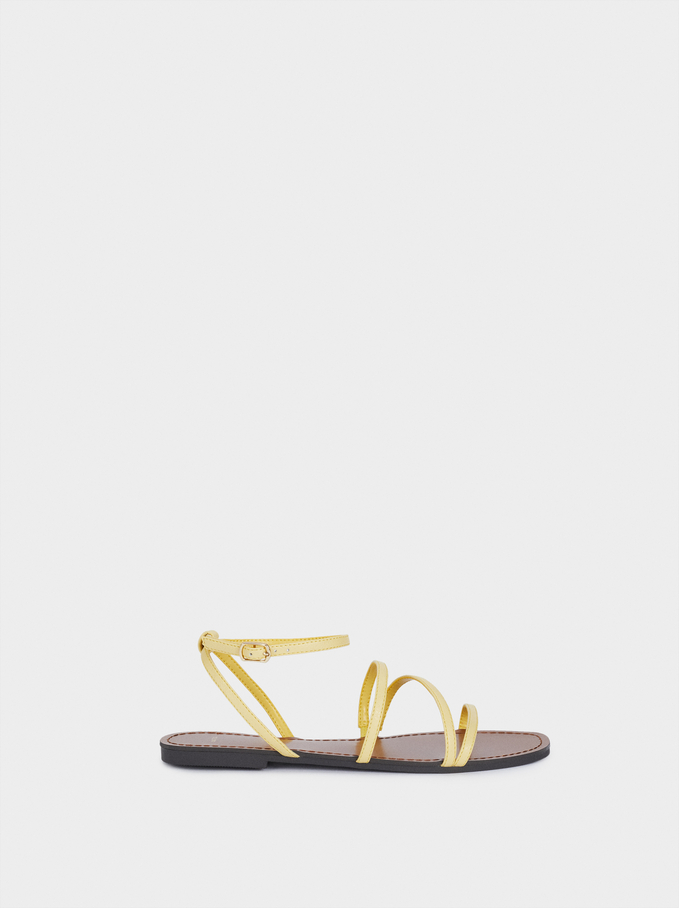 Flat Strappy Sandals, Yellow, hi-res