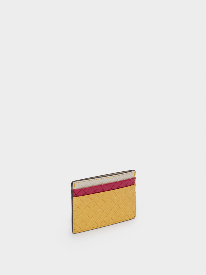Woven Card Holder, Yellow, hi-res