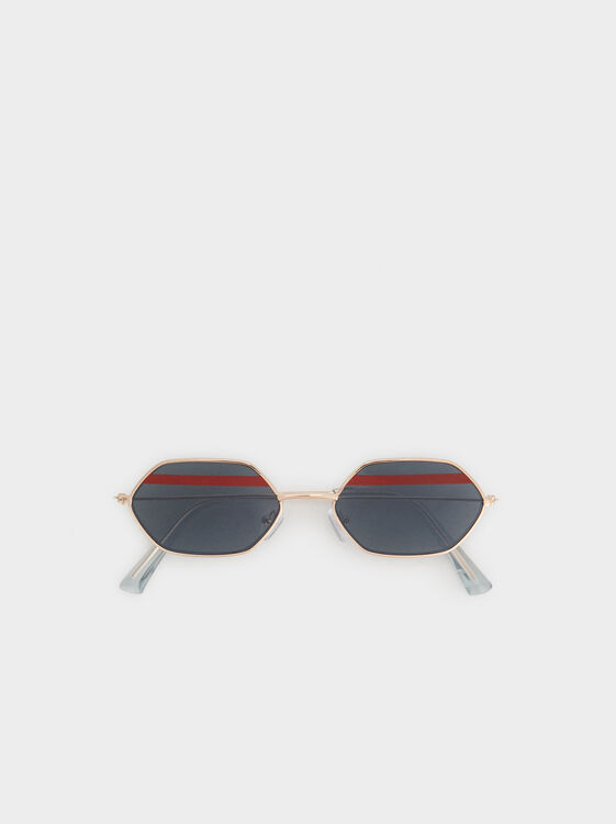 Tortoiseshell Geometric Sunglasses, Golden, hi-res