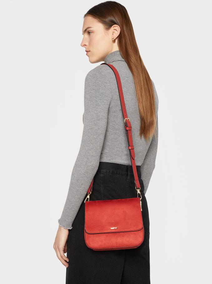 Suede Texture Crossbody Bag, Brick Red, hi-res